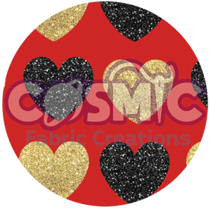 Black& Gold Glitter Hearts - Red background