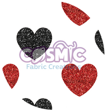 Load image into Gallery viewer, Black & Red Glitter Hearts - White Background
