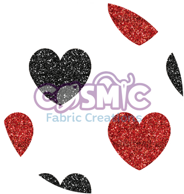 Black & Red Glitter Hearts - White Background