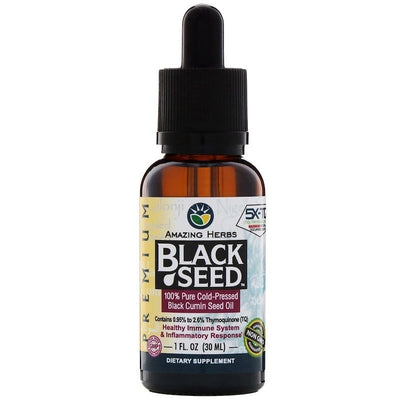 Amazing Herbs, Black Seed, 100% Pure Cold-Pressed Black Cumin Seed Oil, 1 fl oz