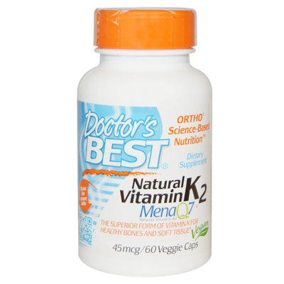 Doctor's Best, Natural Vitamin K2 MK7, with Mena Q7, 45 mcg x 60 Veggie Caps