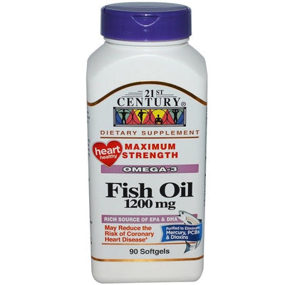 21st Century, Fish Oil, Maximum Strength, 1200 mg, 90 Softgels