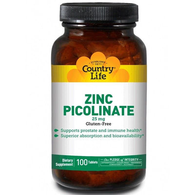 Country Life, Zinc Picolinate, 25 mg,100 Tablets - Infertility, Sperm Count, Gut