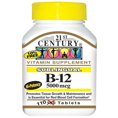 21st Century, Sublingual B-12, 5000 mcg, 110 Tablets *QUICK ABSORPTION*