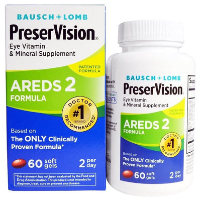 Bausch & Lomb, PreserVision, AREDS 2 Formula, 60 SoftGels, Eye Vitamin & Mineral