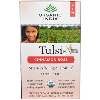 Organic India, Tulsi Holy Basil Tea, Cinnamon Rose, Caffeine-Free