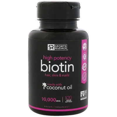 Sports Research, Biotin with Organic Coconut Oil, 10,000 mcg, 120 Veggie Softgel