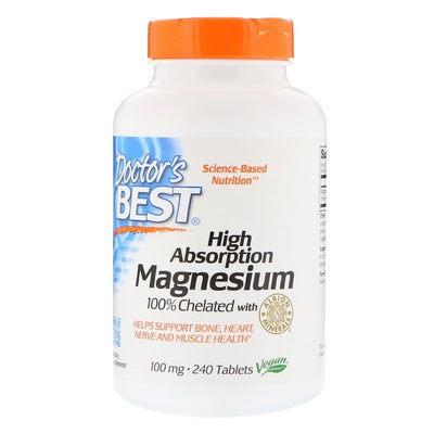 Doctor's Best, High Absorption Magnesium, 100% Chelated Albion Minerals, 240Tabs