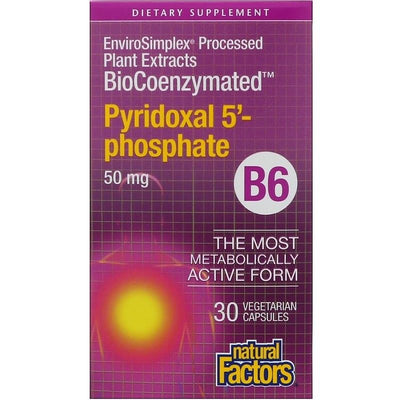Natural Factors, BioCoenzymated, B6, Pyridoxal 5'-Phosphate, 50 mg, 30 Veg Caps