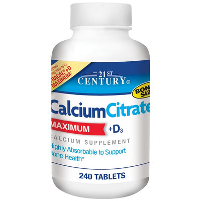 21st Century Calcium Citrate, Maximum, +D3, 240 Tablets