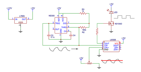 supply the leds at the output the circuit uses a common 7805 regulator on the front end to convert the incoming dc voltage 9 24vdc to 5vdc used by