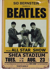 the beatles at shea staium vintage metal sign