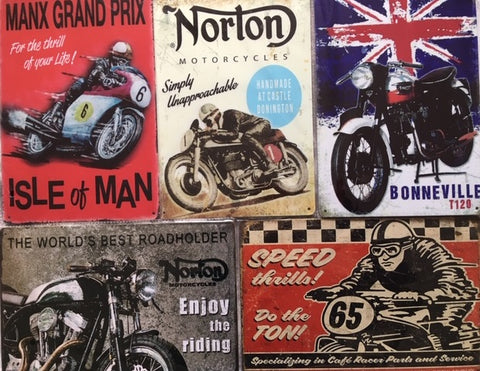 new motorcycles vintage metal signs