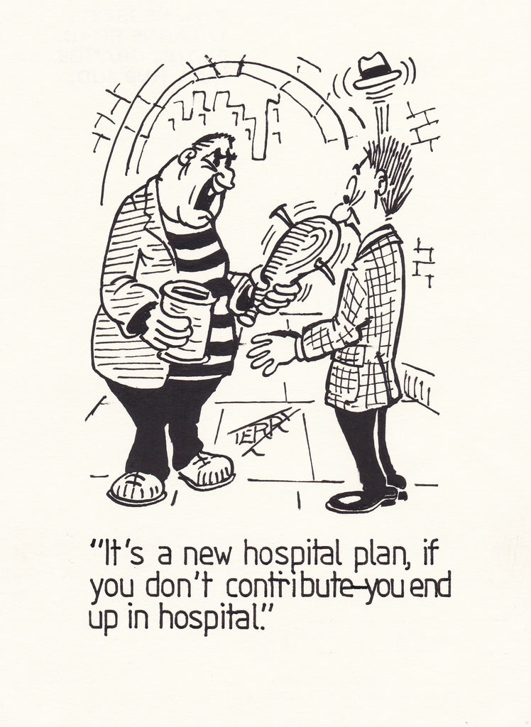 Hospital Insurance. Original Hand Drawn Cartoon Drawing