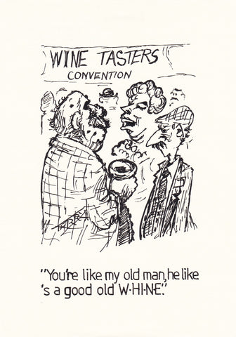 Old Wine. Original Hand Drawn Cartoon Drawing