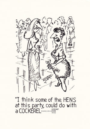 The Hen Party. Original Hand Drawn Cartoon Drawing