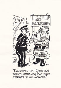 Festive Parking Woes. Original Hand Drawn Cartoon Drawing