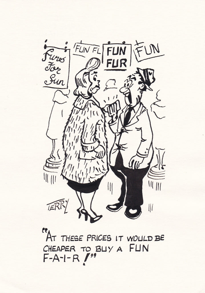 Unfair Prices. Original Hand Drawn Cartoon Drawing