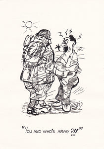 Picking On The Wrong Bloke. Original Hand Drawn Cartoon Drawing