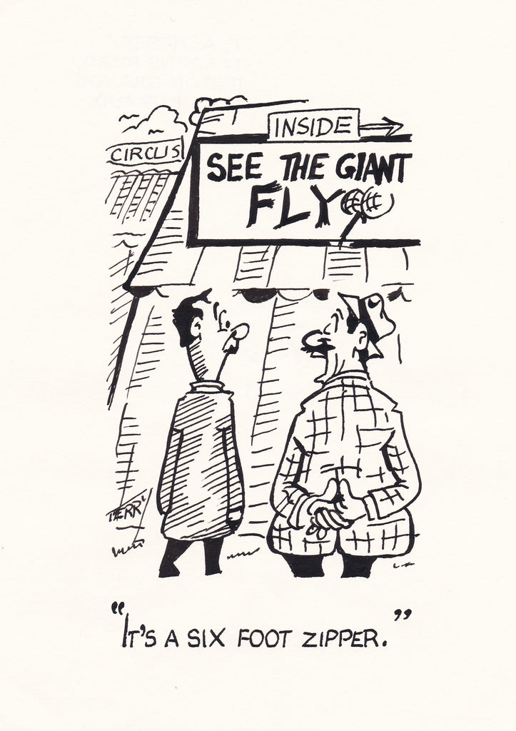 Giant Fly. Original Hand Drawn Cartoon Drawing