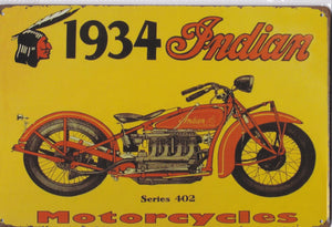 1934 Indian Motorcycle Vintage Metal Sign