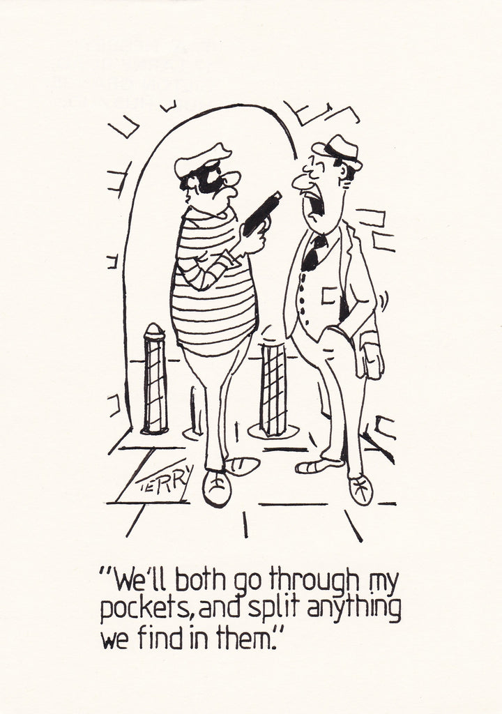 Crime Doesn't Always Pay Original Hand Drawn Cartoon Drawing