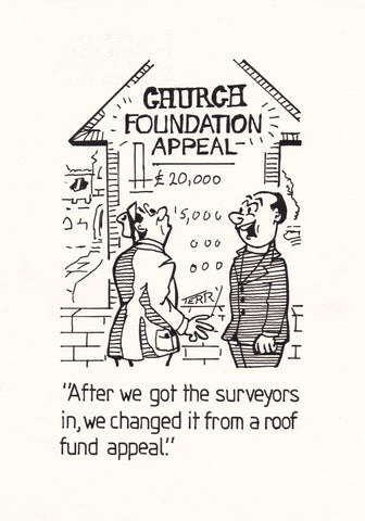 The Church Appeal. Original Hand Drawn Cartoon Drawing