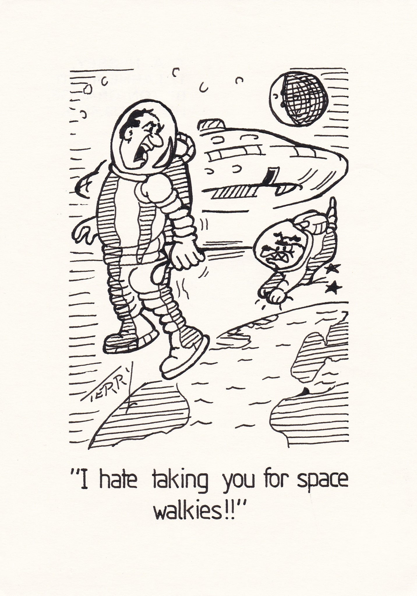 Space Walk. Original Hand Drawn Cartoon Drawing