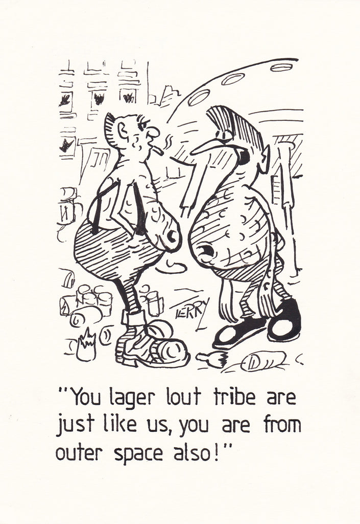 Lager Lout. Original Hand Drawn Cartoon Drawing