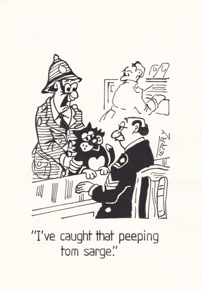 Peeping Tom Hand Drawn Cartoon Drawing