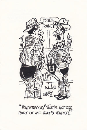 Dude Ranch Original Hand Drawn Cartoon Drawing
