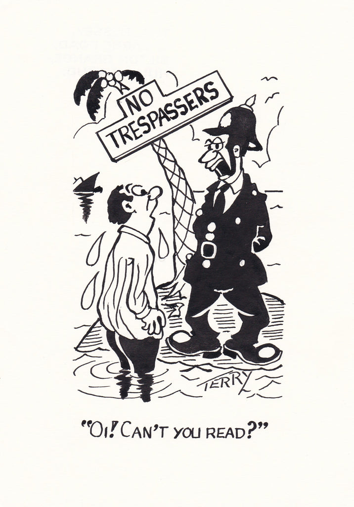 No Trespassing. Pay Original Hand Drawn Cartoon Drawing