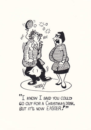 Christmas Drinks. Original Hand Drawn Cartoon Drawing