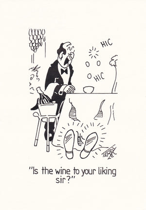 Great Wine Original Hand Drawn Cartoon Drawing