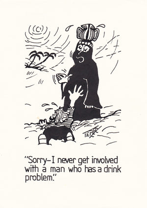Dying for a Drink. Original Hand Drawn Cartoon Drawing