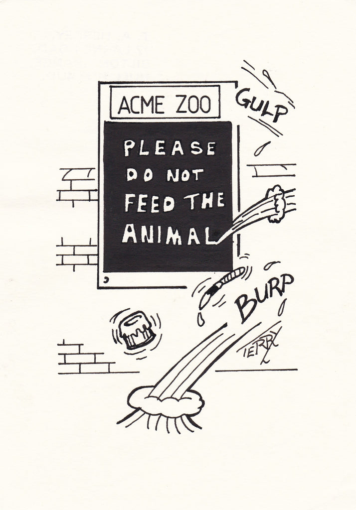 Don't Feed The Animals Hand Drawn Cartoon Drawing