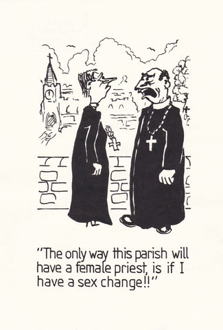 Female Priests. Original Hand Drawn Cartoon Drawing