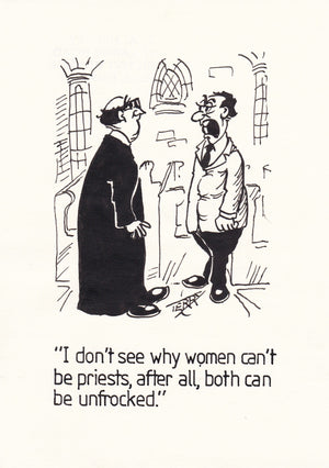 Women Priests. Original Hand Drawn Cartoon Drawing