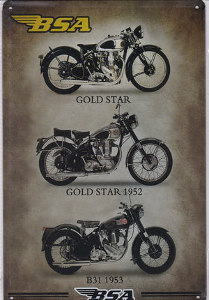 BSA Gold Star Trio Vintage Metal Sign