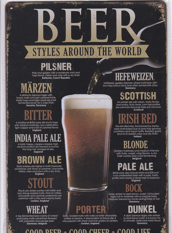 Beer Styles Around The World Vintage Metal Sign
