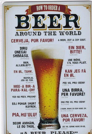 Beer Around The World Vintage Metal Sign