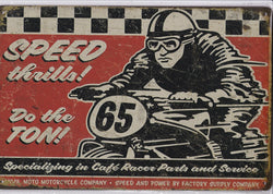 Cafe Racer Speed Thrills Vintage Metal Sign
