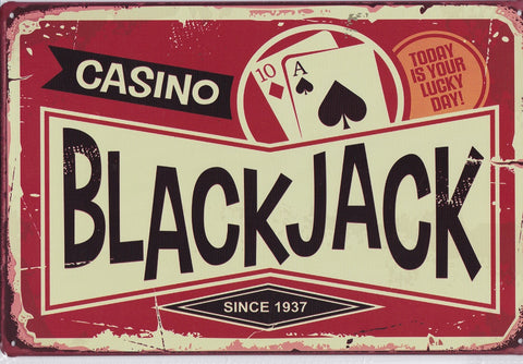 Casino Blackjack Vintage Metal Sign