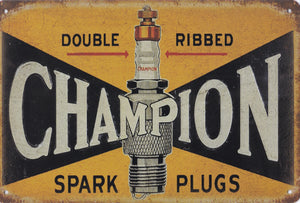 Champion Spark Plugs Vintage Metal Sign