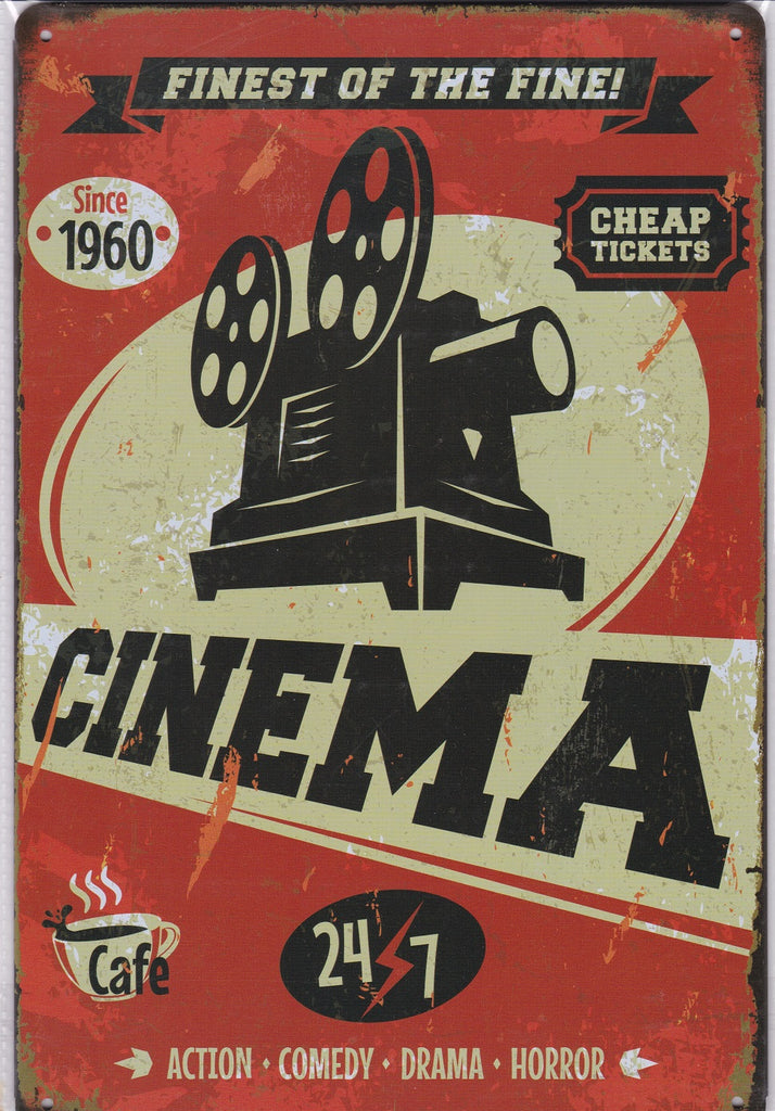 24/7 Cinema Vintage Metal Sign