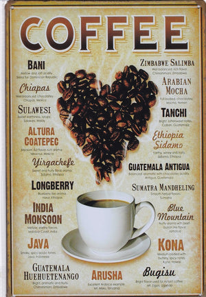Coffee Types Vintage Metal Sign