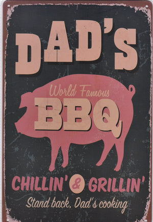 Dad's BBQ Vintage Metal Sign