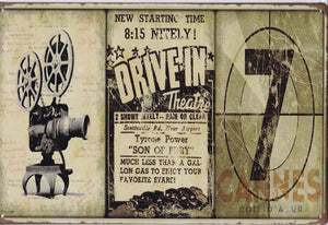 Drive In Theatre Vintage Metal Sign