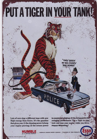 Image of Esso Put A Tiger In Your Tank Vintage Metal Sign