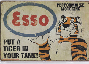 Esso Put A Tiger In Your Tank UK Vintage Metal Sign